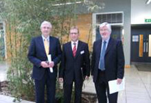 Prof Don MacElroy with Mr Padraic White and Mr George Bennett at teh Solar Energy Technologies Industrial Evening